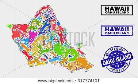 Vector Combination Of Service Oahu Island Map And Blue Seal Stamp For Quality Product. Oahu Island M