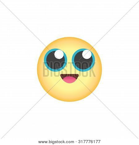 Grinning Face Emoticon With Big Eyes Flat Icon, Vector Sign, Smiling Face Emoji Colorful Pictogram I