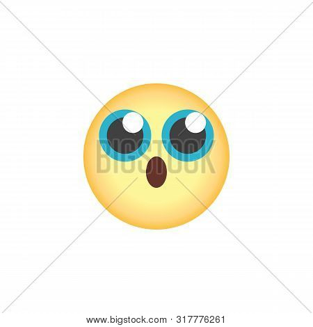 Surprised Face Emoticon Flat Icon, Vector Sign, Anguished Emoji Face Colorful Pictogram Isolated On