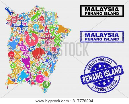 Vector Collage Of Service Penang Island Map And Blue Watermark For Quality Product. Penang Island Ma