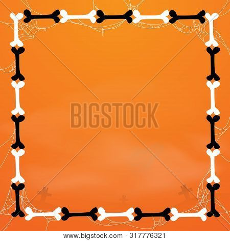 Happy Halloween. Black And White Bones Frame With Spider Web. Vector Illustration