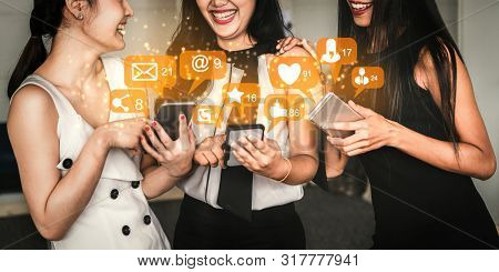 Social Media And People Network Technology Concept.