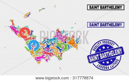 Vector Collage Of Service Saint Barthelemy Map And Blue Seal For Quality Product. Saint Barthelemy M
