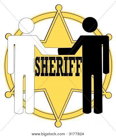 Sheriff Badge Black And White Handshake