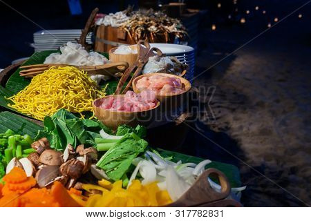 Materials Prepared For Fried Noodles In Buffet Line For Dinner Party..