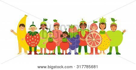 Kids In Fruit Clothing Flat Vector Illustration. Smiling Children Wearing Funny Costumes Cartoon Cha