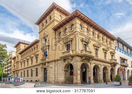 Huesca,spain - May 19,2019 - State Administrative Building At The Navarra Place In Huesca. The City