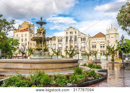 Huesca,spain - May 19,2019 - At The Navarra Place In Huesca. The City Huesca Is One Of The Smallest