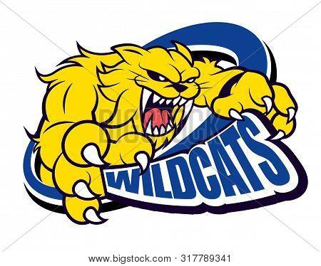 Strong Fierce Yellow Wildcat Mascot For Sport Theme - Vector Character