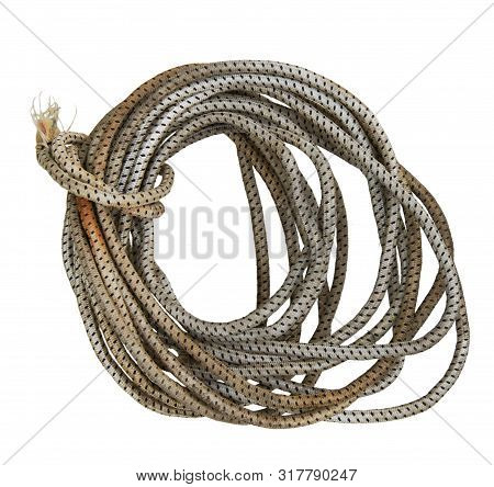 Hank of old dynamic rope isolated on white background poster