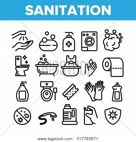 Collection Sanitation Elements Icons Set Vector Thin Line. Washing Hand And Clean, Soap Protection A