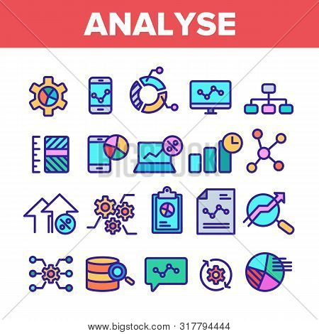 Color Analyse Element Sign Icons Set Vector Thin Line. Market Graph Detail Of Analyse Linear Pictogr