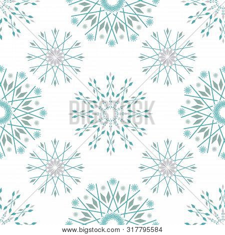 Beautiful Winter Design With Teal And Silver Stylised Snowflakes. Seamless Vector Pattern On White B