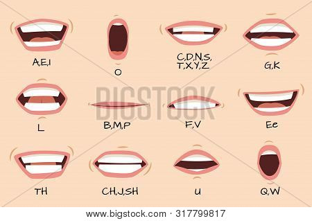 Mouth Sync. Talking Mouths Lips For Cartoon Character Animation And English Pronunciation Signs. Vec