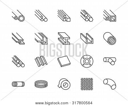 Stainless Steel Flat Line Icons Set. Metal Sheet, Coil, Strip, Pipe, Armature Vector Illustrations.