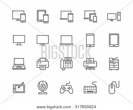 Devices Flat Line Icons Set. Pc, Laptop, Computer, Smartphone, Desktop, Office Copy Machine Vector I