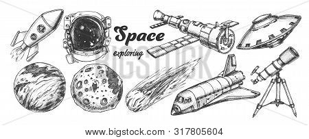 Collection Of Space Exploring Elements Set Vector. Space Rocket And Shuttle, Satellite And Ufo, Aste