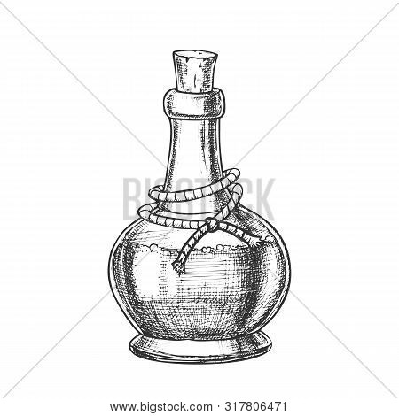 Poison Bottle With Cork Cap Monochrome Vector. Glass Bottle With Planted Yarn And Toxic Mixture. Poi