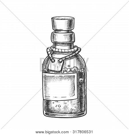 Bubbled Potion Elixir Bottle Monochrome Vector. Glass Bottle With Blank Label On Planted Yarn. Poiso