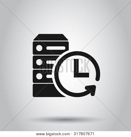 Data Center Icon In Flat Style. Clock Vector Illustration On Isolated Background. Watch Business Con
