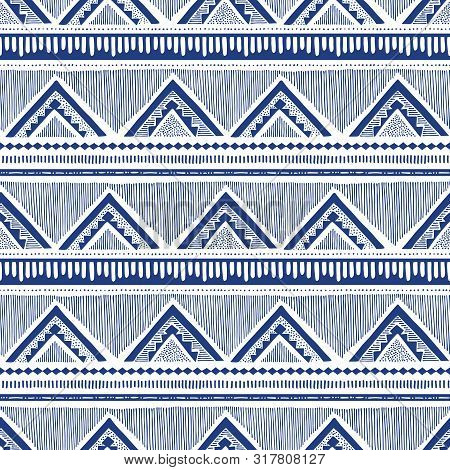 Monochrome Hand Drawn Tribal African Zig Zag And Stripes Vector Seamless Pattern. Stylised Dense Eth