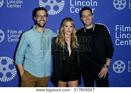 NEW YORK - AUG 16: (L-R) Robert Olsen, Maika Monroe and Dan Berk attend the premiere of 'Villains' at the 2019 Scary Movies XII at Lincoln Center on August 16, 2019 in New York City.
