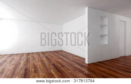 Large empty L-shaped room with wooden floor, white walls and a recessed alcove with shelves in daylight. 3d rendering