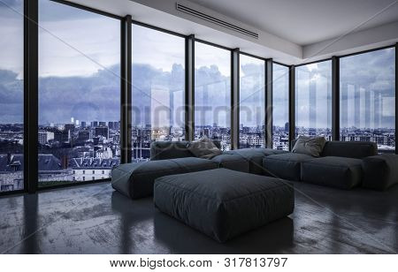 Spacious living room with large upholstered grey furniture on a dark floor with wraparound floor to ceiling glass windows overlooking a city at dusk with clouds. 3d rendering