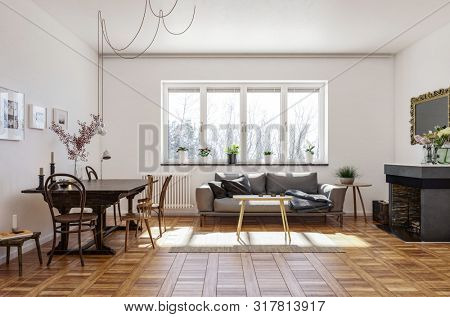 Spacious living room with vintage style hardwood parquet floor, a fireplace with mirror, dining table and chairs and sofa under a sunny window. 3d rendering