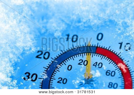 Thermometer showing winter cold