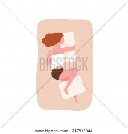 Young Woman Sleeping On Her Side And Hugging Pillow. Cute Funny Girl Falling Asleep On Comfortable B