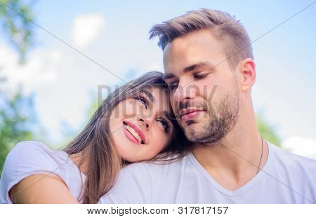 Sensual Hug. Love Romance Concept. Romantic Date. Handsome Man Pretty Girl In Love. Sexual Attractio