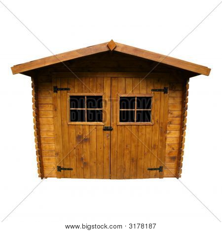 Wooden Garden Shed (Isolated)