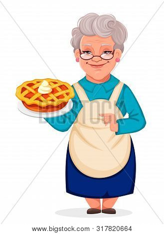 Happy Grandparents Day. Cheerful Grandmother Cartoon Character Holding A Delicious Pumpkin Cake. Vec