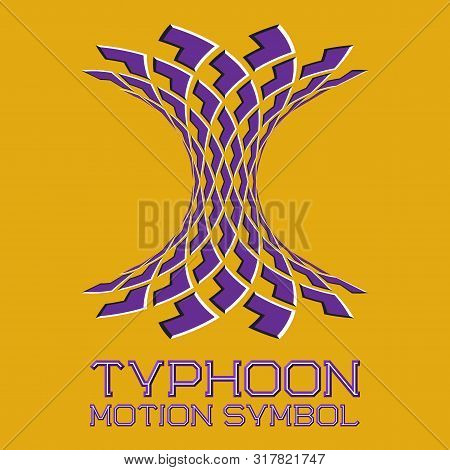 Abstract Logo Symbol In Motion Typhoon Shape On Yellow Background. Purple Emblem With Moving Arrows.