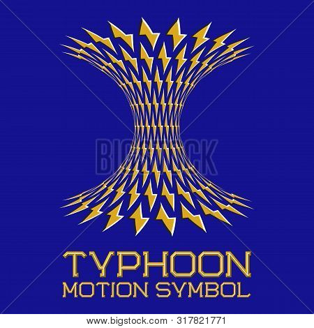 Abstract Logo Symbol In Motion Typhoon Shape On Blue Background. Yellow Emblem With Moving Lightning