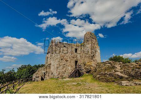 Primda, Czech Republic - August 11 2019: Old Ruin Of Oldest Stone Castle In The Czech Republic, From
