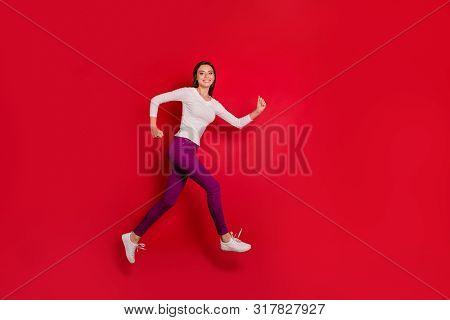 Full Length Body Size Photo Of Charming Fleeing Cheerful Rejoicing Girl Running Towards Her Boyfrien