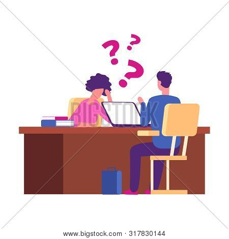 Student Has Problems At Interview. Examination, University Interview Vector Concept. Illustration Em