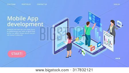 Mobile App Development. Isometric Interface Development Vector Landing Page. Illustration Isometric