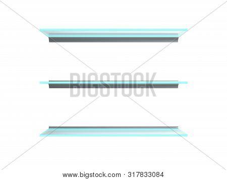 Empty Glass Shelves 3d Render Image Close Up