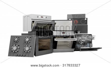 Home Appliances Built In Group Of White 3d Render On White No Shadow