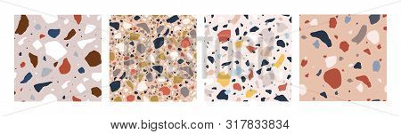 Bundle Of Decorative Italian Terrazzo Textures. Set Of Motley Seamless Patterns With Colorful Minera
