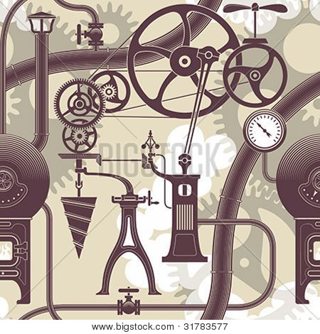 Elements of a steam engine. Steampunk styled seamless vector pattern.