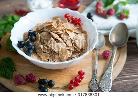 Cereal. Breakfast With Muesli And Berries. Top View, Flat Lay. Healthy Tasty Breakfast Multigrain Wh