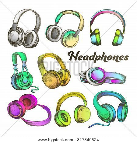 Color Different Sides Headphones Set Vector. Modern Portable Electronic Device Headphones For Listen