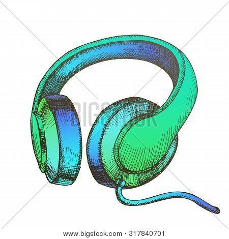 Color Listening Audio Device Cable Headphones Vector. Mobile Electronic Gadget Headphones For Listen