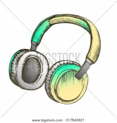 Color Melomane Accessory Wireless Headphones Ink Vector. Portable Speakers Headphones For Listening