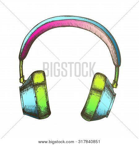 Color Hipster Accessory Wireless Headphones Ink Vector. Speakers Headphones For Listening Music Reco