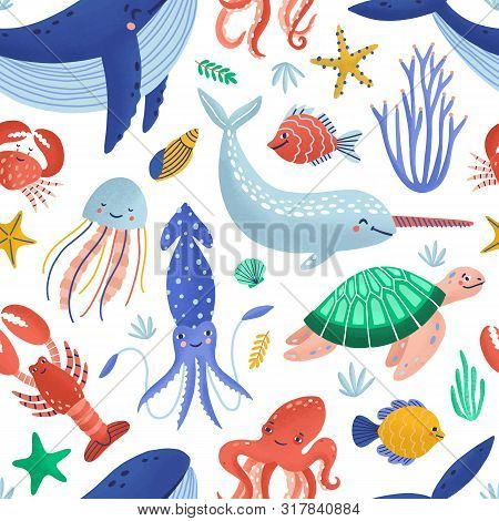 Seamless Pattern With Cute Happy Marine Animals Living In Ocean. Backdrop With Underwater Fauna Or S